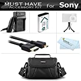 Must Have Accessory Bundle Kit For Sony HDR-AS30V, HDR-AS10, HDR-AS15, HDR-MV1, HDR-CX440, HDR-CX405, FDR-X1000V, AS200V Action Video Camera Includes Replacement NP-BX1 Battery + Charger + Case + More