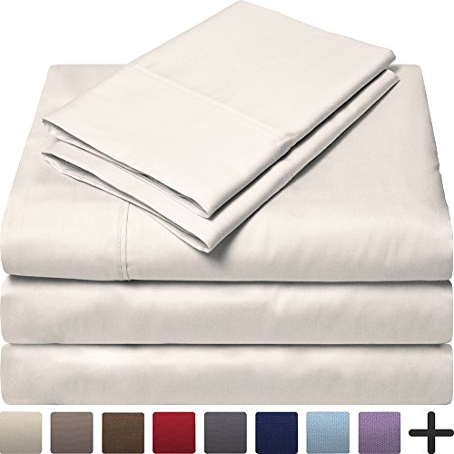 Egyptian Cotton 300 Thread Count Sateen Split King Sheet Set (Split King,  Ivory)
