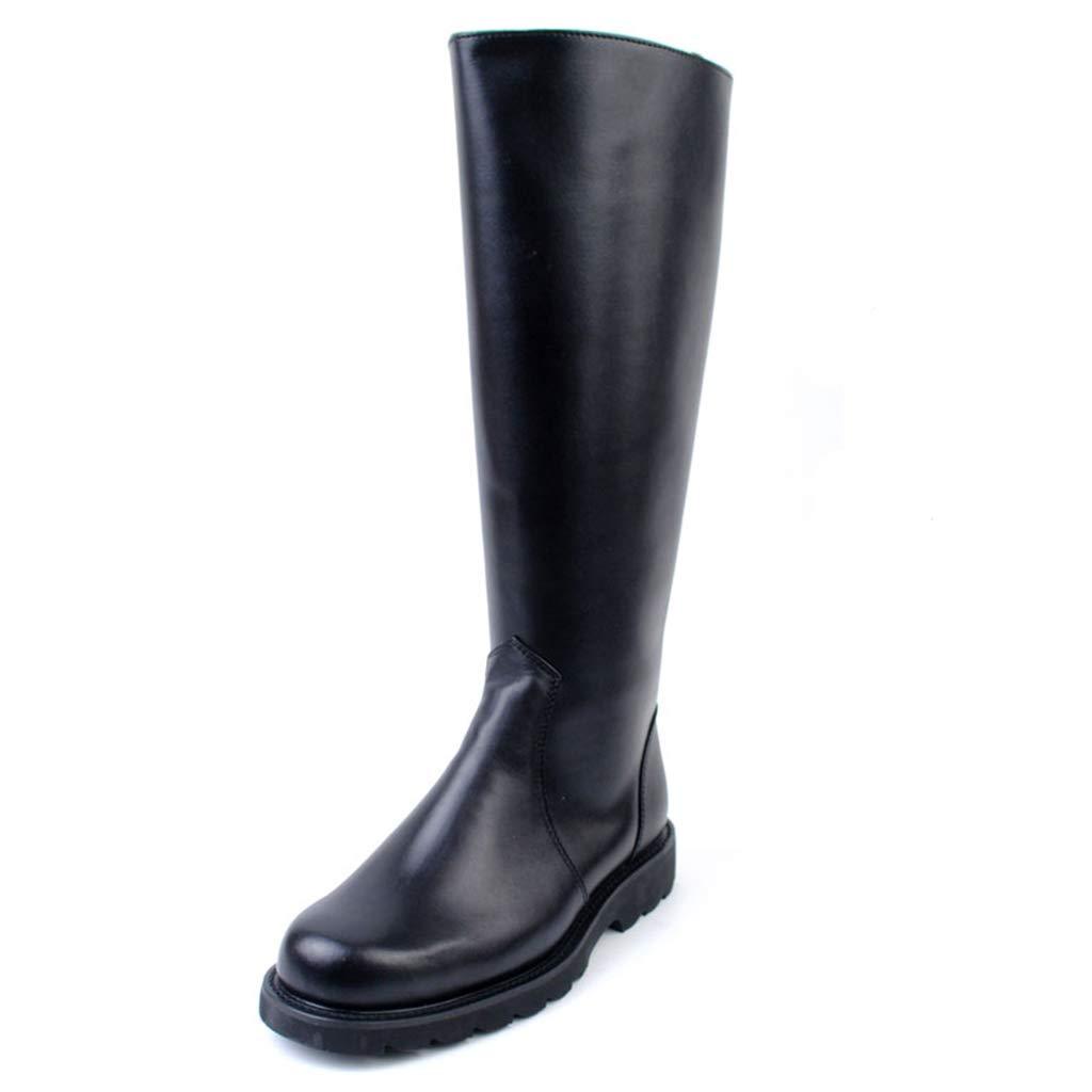 Alaño Rodilla botas Altos hombres del Piso baño del talón del Cierre relámpaño Lateral del Hombre de HíPiña botas Casual negro botas de Invierno Largos del Tubo de tamaño Grande 36-46 negro