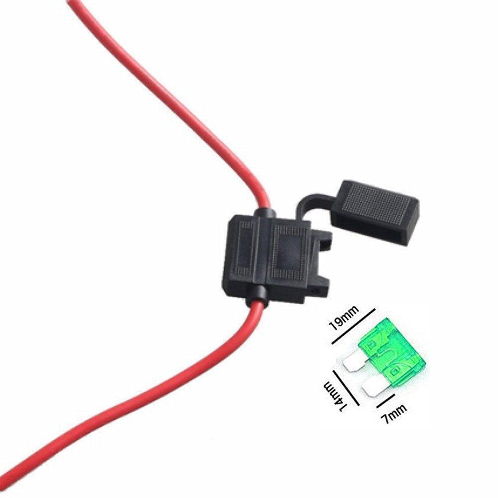 Qiorange 12 Gauge ATC Fuse Holder Box In-Line AWG Wire Copper Blade Standard Plug Socket 12V 30A 5-Pack
