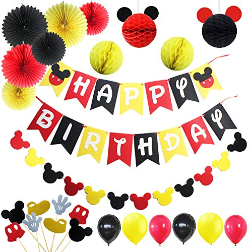 Mickey Mouse 1st Birthday Decorations (LOCCA Mickey Mouse Party Supplies, 1st 2nd 3rd Birthday Decorations for Boys/Girls/Kids, Red Yellow Black Mickey Mouse Theme Party Favors Kit, Includes Mickey Birthday Banner and)