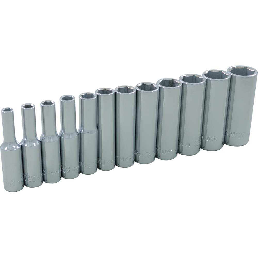 Gray Tools 19212 12 Piece 1/4-Inch Drive, 6 Point Metric Deep, Chrome Socket Set, 4-Millimeter-14-Millimeter