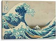 Cuadro decorativo de canvas (lienzo), La gran ola - Katsushika Hokusai - Arte famoso & Playas y mares, mon
