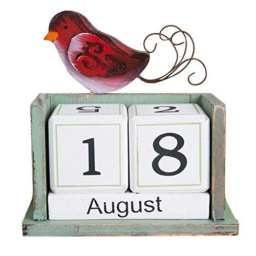 - Olpchee Creative Vintage Desktop Desk Wooden Perpetual Block Calendar for Home Office Decoration (Bird)