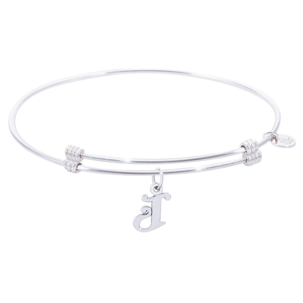 Rembrandt Initial J Charm Expandable Wire 'Alluring' Bangle, Sterling Silver