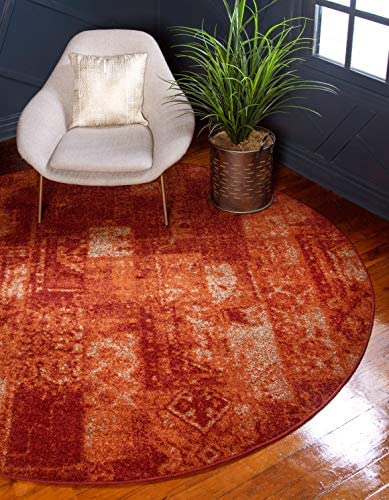 Unique Loom Autumn Collection Vintage Rustic Casual Warm Toned Terracotta Round Rug 8 0 x 8 0