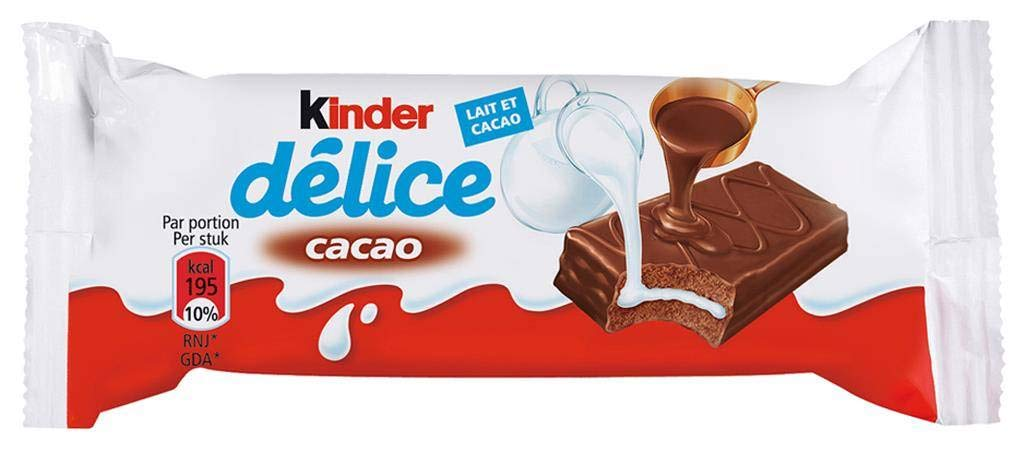 Kinder Delice Rich in Milk Chocolate Bars 39 Gram Bars (Pack of 20)