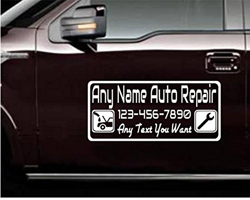 StickerLoaf Brand AUTO MECHANIC Work Truck DOOR sign signs Business Name CUSTOM DECALS decal Mobile automotive auto repair mechanic - Mobile Shops Name