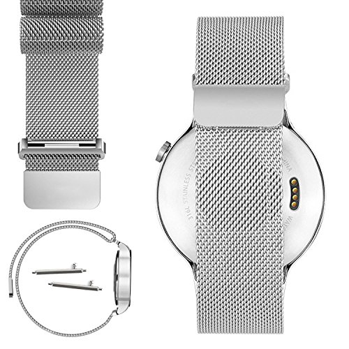 Band Flip Face Wrist Watch (Yishun Magnetic Milanese Loop 18mm Replacement Adjustable Stainless Steel Mesh Bracelet Metal Wrist Strap Watch Band for Huawei Watch (Silver))