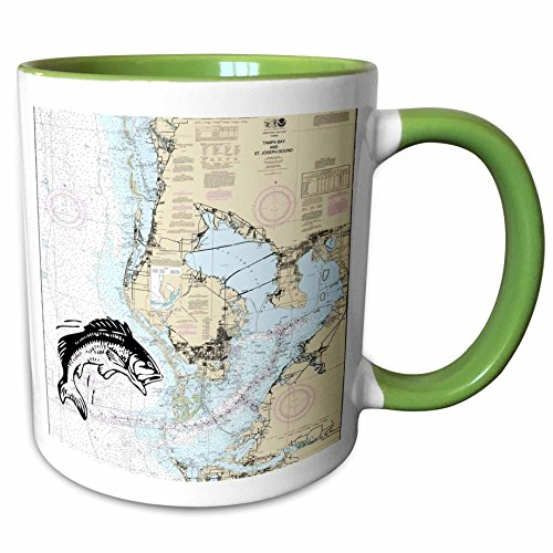 3dRose Florene - Nautical Map Décor - Print of Nautical Map Of Tampa Bay With Fish - 11oz Two-Tone Green Mug - Outlets Map Tampa