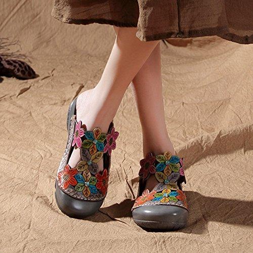 Zapatos Estilo Mujeres Aire de Zapatillas Flores Gris Libre Cuñas de Sandalias Punta Verano Hueco Zapatos Estrecha Mujer al étnico t6wz4d