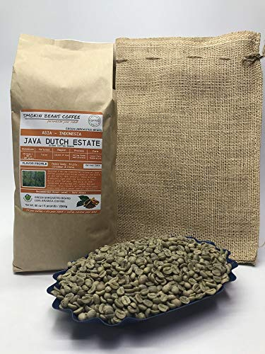 5 Pounds - Indonesian - Java Dutch Estate - Unroasted Arabica Green Coffee Beans - Grown Island Of Java- Altitude 1100-1200M - Drying/Milling Process Is Giling Basah - Typica - Includes Burlap Bag