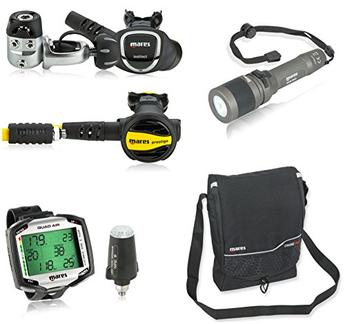 Mares Quad Air Integrated Dive Computer with LED Tank Module Scuba Regulator Package