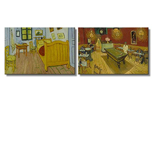 Bedroom The Night Café by Vincent Van Gogh Oil Painting Reproduction in Set of 2 x 2 Panels