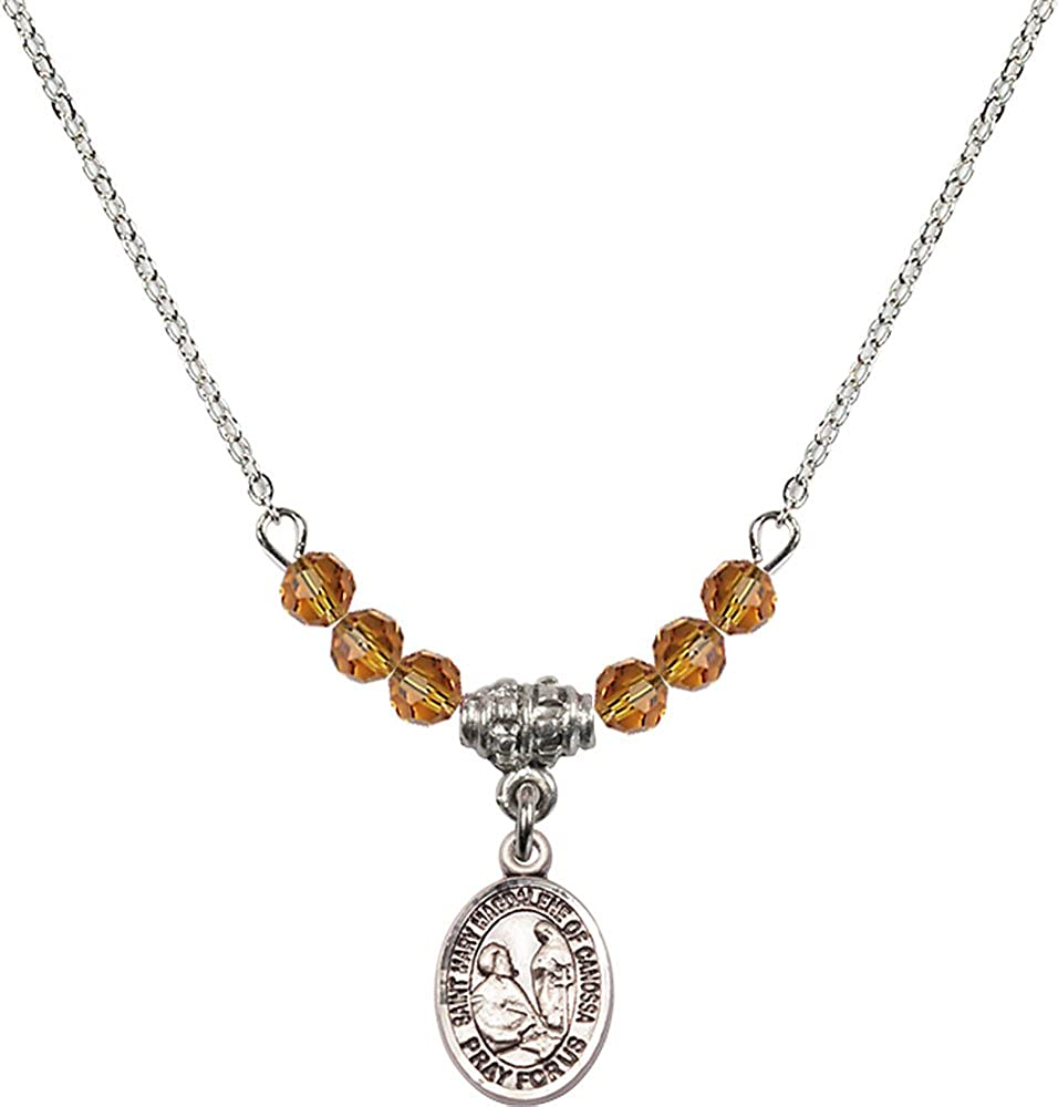 18-Inch Rhodium Plated Necklace with 4mm Topaz Birthstone Beads and Sterling Silver Saint Mary Magdalene of Canossa Charm.