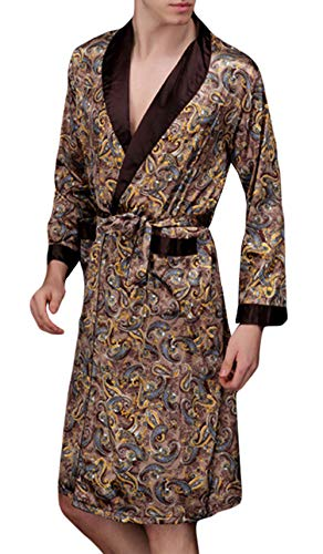 YIMANIE Men's Satin Robe Dragon Luxurious Silk Spa Long Sleeve House Kimono Bathrobe Lightweight Soft Printed Pajamas - Print Silk Robe