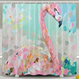 MOLIAN Oil Painting Flamingo Personalize Custom Bathroom Shower Curtain With Rings Waterproof Polyester Fabric 60 X 72 Inch,No Chemical Odor