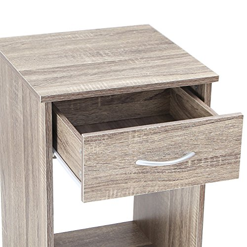 "Asense Height Wood Square Accent End Table with Drawer, Wooden Table, Nightstands, Living Room Bed Room (15.6"" W x 15.6"" D x 24.1"" H, Dark Grey)"
