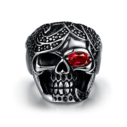Focus Jewel Mafia Skull Sterling Silver Punk Ring with Red Eyes Ruby Pirate Rings, Size 10