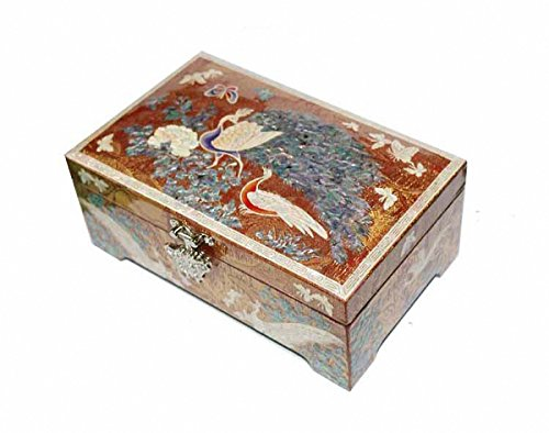 Jmcore Mother of Pearl Gold Color Peacock Design Jewelry Box Display Nacre Jewellry Case by JMcore Jewelry Box