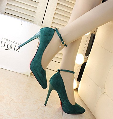 Work Heel Lady Fine Single Head Shallow Mouth Shoes 11Cm Shoes Sharp Spring Women Shoes Heel Shop Sexy 35 Night MDRW Green Elegant High Leisure XEqdPPw