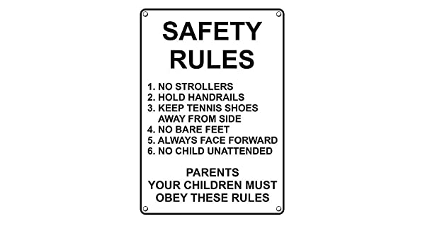 14024ab6f Amazon.com  Weatherproof Plastic Vertical Safety Rules 1. No Strollers 2.  Hold Sign with English Text  Industrial   Scientific