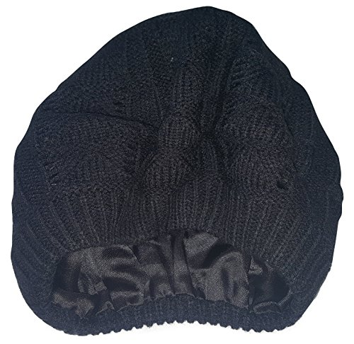 Satin Lined Knit Beret Hat (Black)