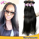 XBLHAIR 100% Unprocessed Brazilian Virgin Human Hair Weave 7A Grade Straight Hair Extensions 3 Bundles Deals Natural Black (20 22 24) 100g/pc Total:300g
