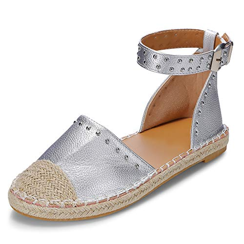 KCatsy Round Toe Rivet Grass Weaving Flat Shoes Fisherman Sandal for Women -