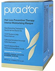 PURA D'OR Hair Thinning Therapy Intense Moisturizing Masque, 8 Packets, Deep Hydrating Mask Treatment, Infused with Natural & Organic Ingredients, For All Hair Types, Men & Women (Packaging may vary)