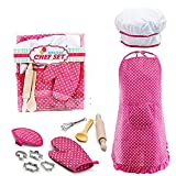 Best Popular Toys for 3-8 Year Old Girls, Chef Costume Set for Kids Girls Cooking Game for Kids Girls Baking Set for Kids Girls Birthday Gifts Pink