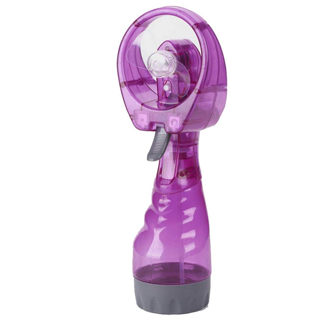 New Portable Mini Hand Held Cooling Fan Cool Water Spray Misting Fan Mist for Travel Beach Camping Pool (Purple, Mini)