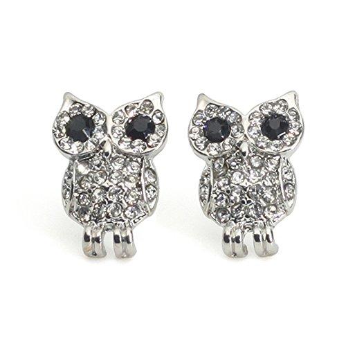 CHOP MALL Owl Bird Jewelry Shine Gem Stone Cute Stud Earrings