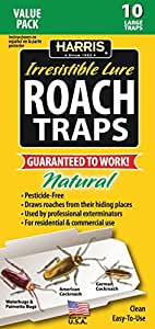 Harris Roach Glue Traps w/ Lure, Natural & Pesticide Free (10-Pack)