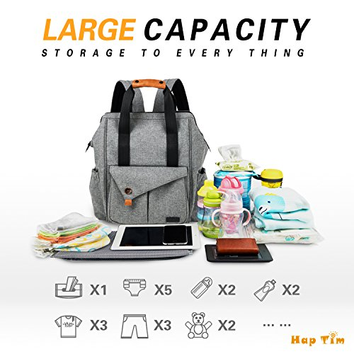 Changing Insulated Bottle Mat 3 Nappy Pockets grey Grey Baby Bag Changing Stroller with Diaper Large Straps Backpack EU5279G Bag Backpack gRxvwq5