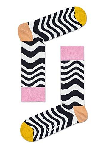 Happy Socks Wavy Stripe Sock Black,Orange,Pink,White,Yellow - Flower Socks Stripe
