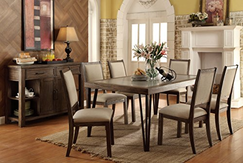 Furniture of America 7 Piece Ahern Industrial Style Dining Set, Weathered Elm