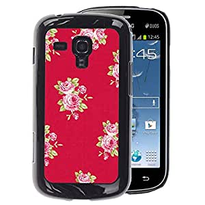 A-type Arte & diseño plástico duro Fundas Cover Cubre Hard Case Cover para Samsung Galaxy S Duos S7562 (Rose Pattern Pink Lilac Purple Red)