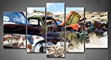 Wall Art Painting 5 Panel Old Classic And Vintage Cars At Rural Junkyard In Winter Painting Pictures Print On Canvas Car The Picture For Home Modern Decoration Stretched By Wooden Frame Ready To Hang