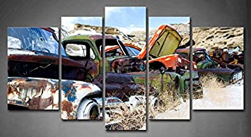 Amazon Com Panel Wall Art Old Classic And Vintage Cars At Rural