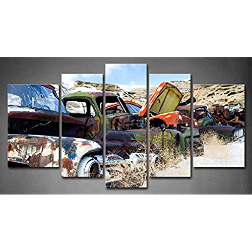 Wall Art Painting 5 Panel Old Classic And Vintage Cars At Rural Junkyard In  Winter Painting Pictures Print On Canvas Car The Picture For Home Modern ...