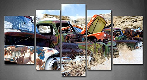 amazoncom 5 panel wall art old classic and vintage cars at rural junkyard in winter painting pictures print on canvas car the picture for home modern