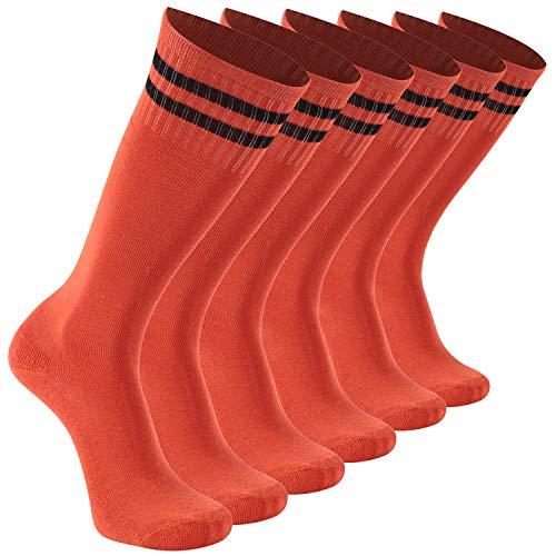 (Baseball Socks Kids,Boys Football School Socks Girls Knee Tube Basketball Socks Striped Casual Socks 6 Pairs Orange transla)