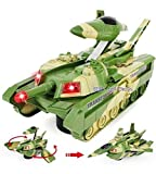 Convertible Tank & Aeroplane Jet Fighter Airplane Toy (Battery Operated) with Lights, Shooting Music & Bump & Go Movement for Kids, Green