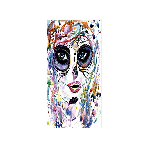 Decorative Privacy Window Film/Halloween Girl with Sugar Skull Makeup Watercolor Painting Style Creepy Decorative/No-Glue Self Static Cling for Home Bedroom Bathroom Kitchen Office Decor -