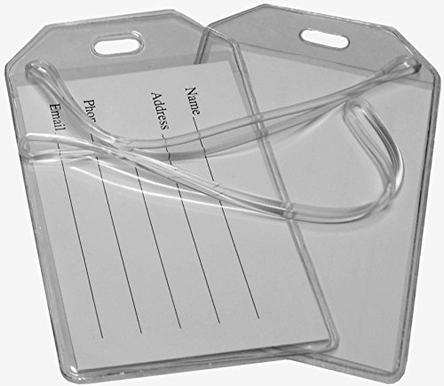 Clear Vinyl Luggage Tags with Loops & Name Cards - Set of 6