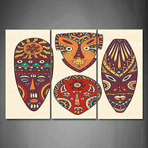 Hanging Wall Art Oil Painting 3 Panel,Tiki Bar 3D Picture Print,Mask Designs African Aborigine Artwork Patterns Cultural Ethnic Hawaiian Print,Home Decoration Wall Decor Gift,Multicolor ,Indoor/Living