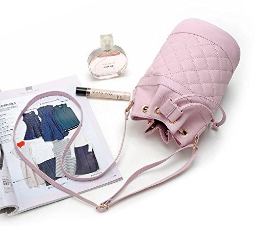 Mini Shoulder Quilt Body Faux Drawstring Satchel Lavender Cross Bag Pebbled Leather Bucket Hoxis wSYRz1qxq