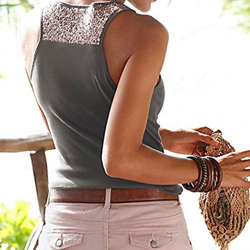 Vest Yoga Blouse Sportivi Camicetta Donna Tank Moda Tops Canotta Camicia Fitness Gilet Donne Grigio Oyedens Plus Size Palestra Maglietta Senza Maniche Slim Cime Estate Crop T Scuro Shirt 48wnxf80