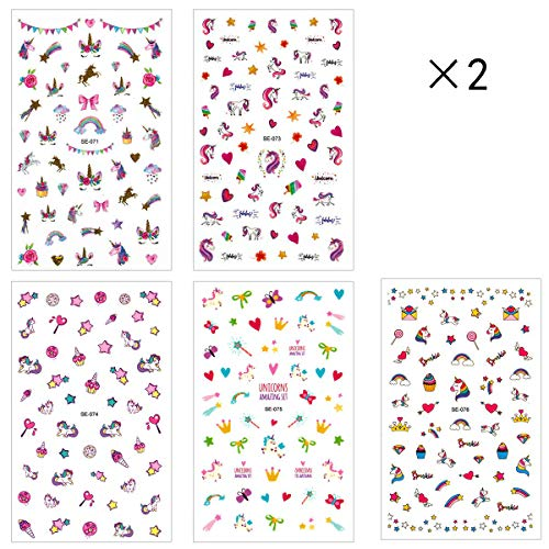 10 sheets Unicorn Nail Stickers, Self-adhesive Nail Art Sticker Decals Manicure Nail Tip Decoration for Girls -
